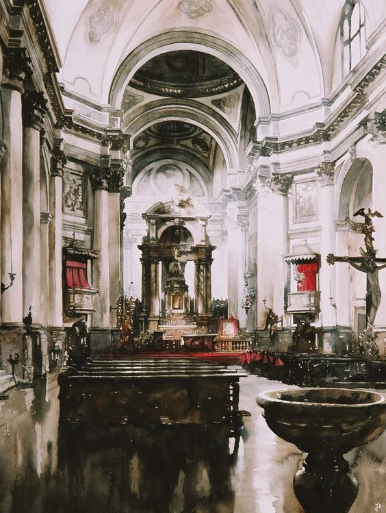 Архитектор-акварелист Paul Dmoch. Intérieur, Santa Maria dei Gesuati à Venise. 75 x 56