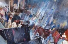 Bernhard Vogel. Городской пейзаж акварель. Дождь