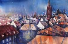 Bernhard Vogel. Городской пейзаж акварель. Nürnberg, Stadtlandschaft mit Sebalduskirche