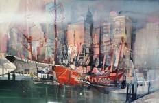 Bernhard Vogel. Городской пейзаж акварель. N.Y. Pier 17 Skyline