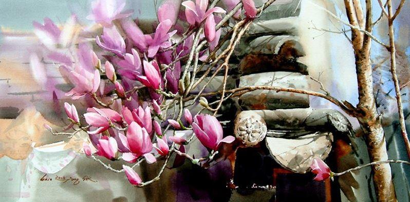Корейский акварелист Shin Jong Sik. Цветы акварелью. Вторые