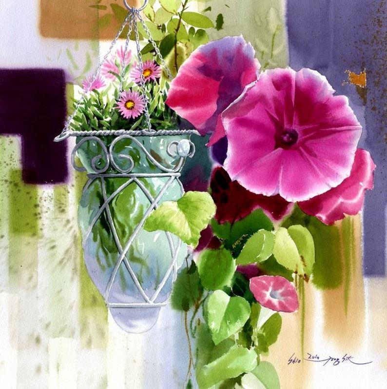 Корейский акварелист Shin Jong Sik. Цветы акварелью. Десятые