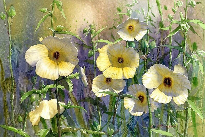 Корейский акварелист Shin Jong Sik. Цветы акварелью. Первые