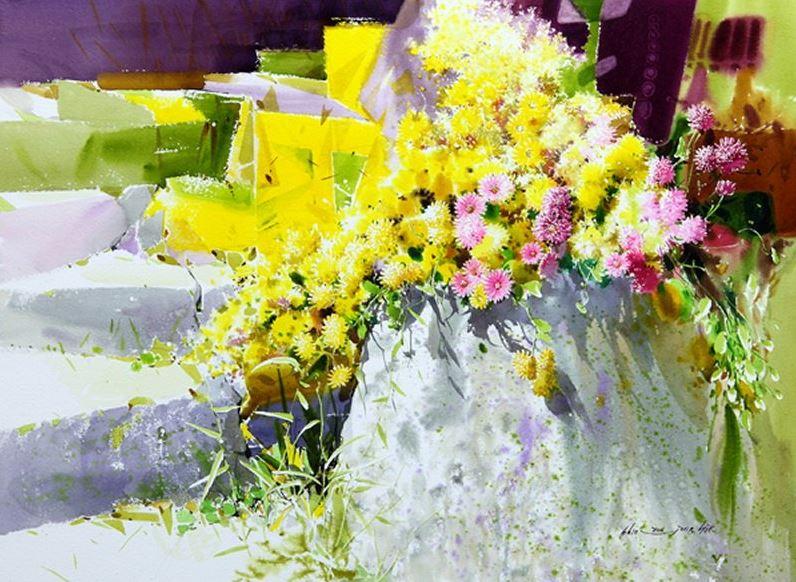 Корейский акварелист Shin Jong Sik. Цветы акварелью. Шестые