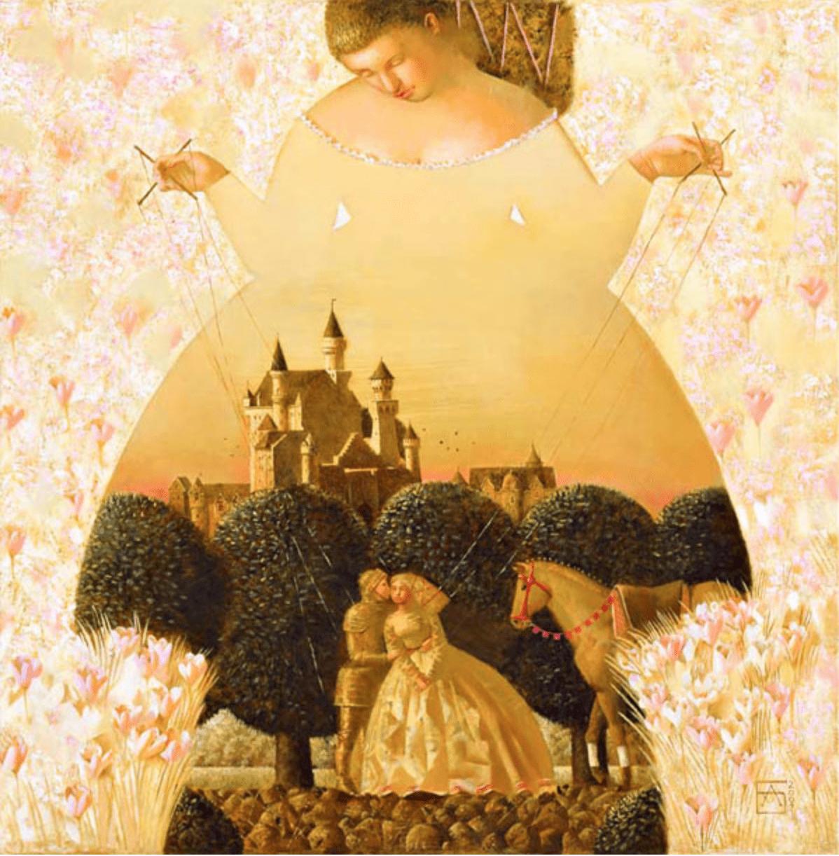 Анна Березовская. Первый поцелуй. 55х55 х.м.