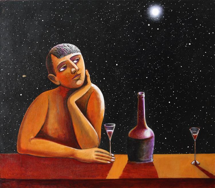 Абжинов Эдуард. Лишь свет звезд. 90х100 холст масло