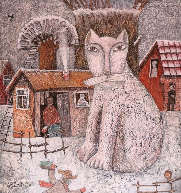 Художник Абжинов Эдуард. Первый снег. 80х75 холст масло