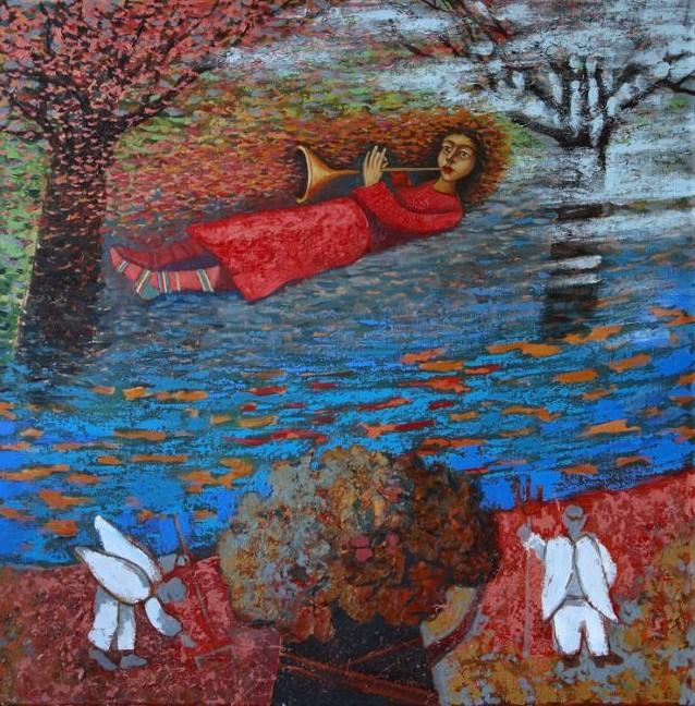 Художник Абжинов Эдуард. Пролетая над ангелами 80х80 холст масло