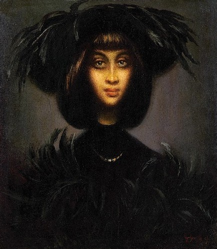 Гиви Сипрошвили. портрет дамы в шляпе с перьями