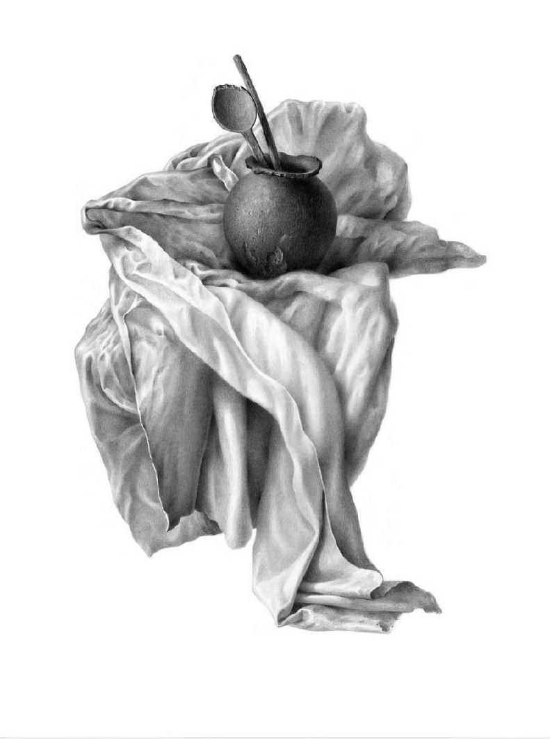 Гурам Доленджашвили. Имеретинский натюрморт на белом фоне. Вариант 4. 45х34 карандаш