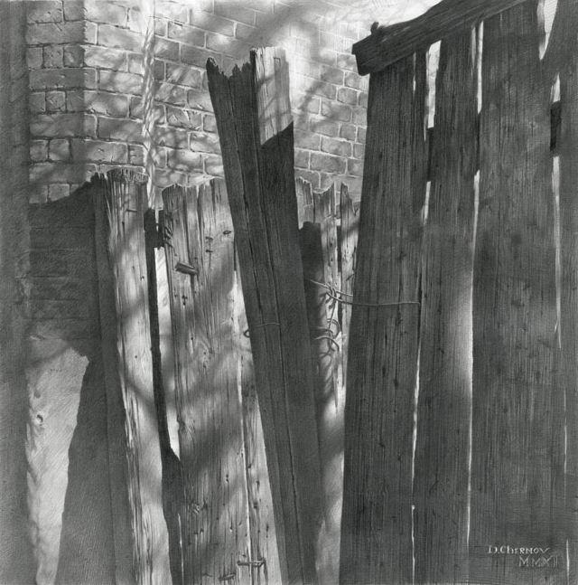 Художник Чернов Денис. Заборная инсталляция. 47х47 бумага карандаш
