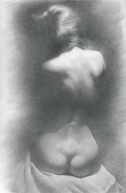 Художник Денис Чернов. Модель на темном фоне. 55х36 бумага карандаш