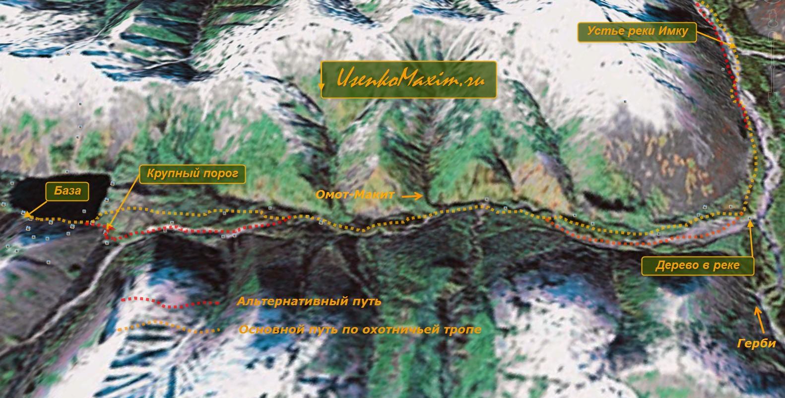 Карта-схема реки Омот-Макит