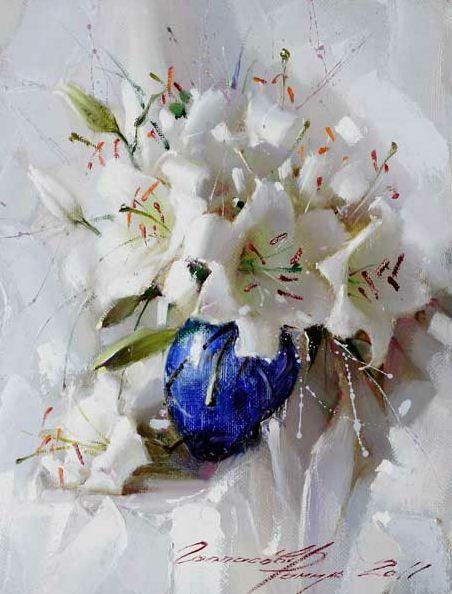 Рамиль Гаппасов. Натюрморт с белыми лилиями. 40х30 холст масло