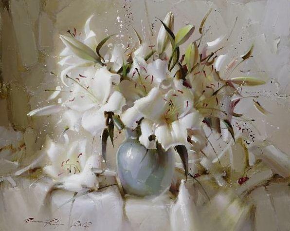 Рамиль Гаппасов. Натюрморт с белыми лилиями. 80х100 холст масло