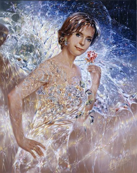 Александр Маранов. Портрет с розой. 100х80 холст масло