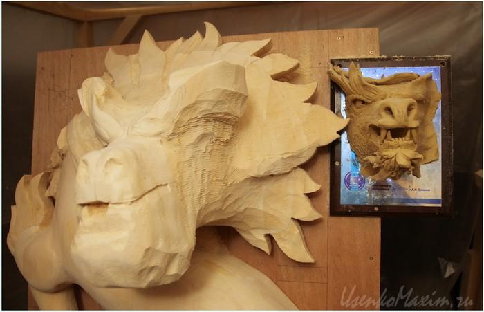 Деревянный дракон. Грубая обрубовка головы