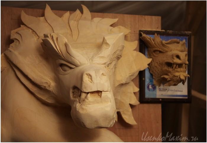 Деревянный дракон. Пластилиновый профиль для наглядности