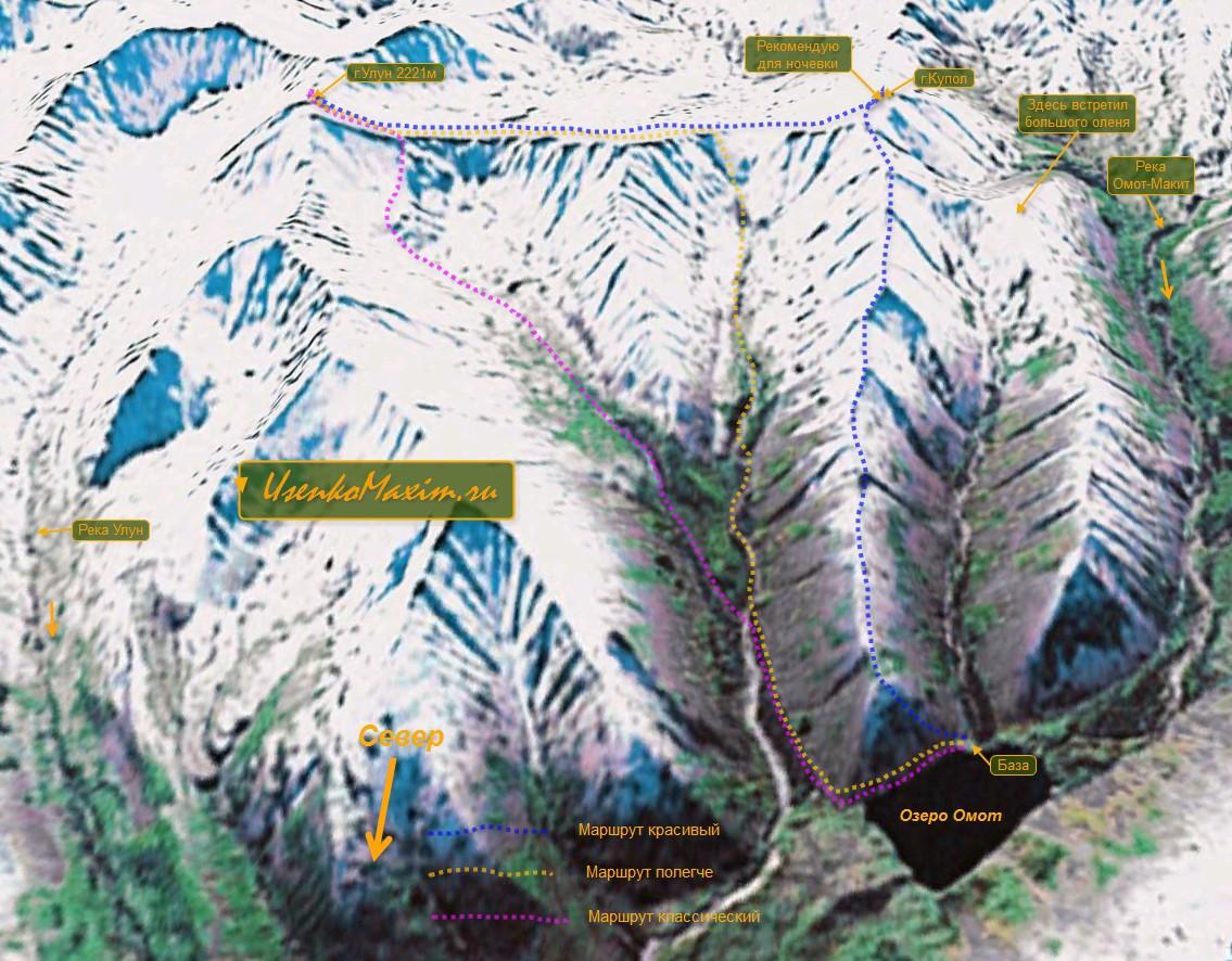 Горы Дальнего Востока. Карта-схема маршрутов на гору Улун