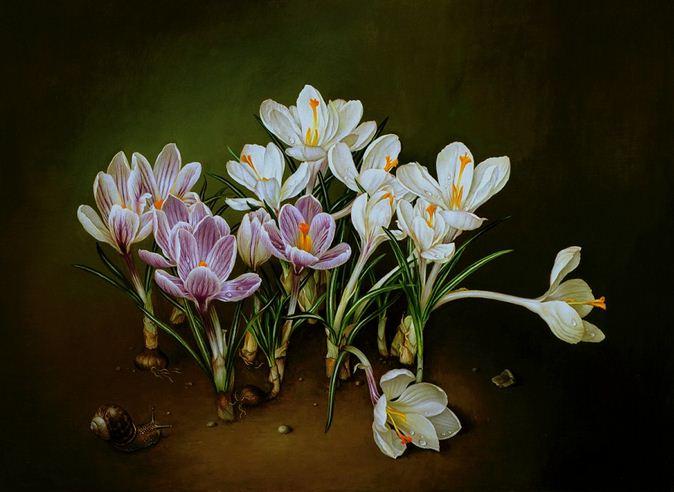 Художник Jose Escofet. Белый и фиолетовый крокусы