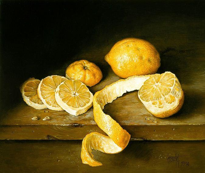 Художник Jose Escofet. Лимоны. 30х37 холст масло