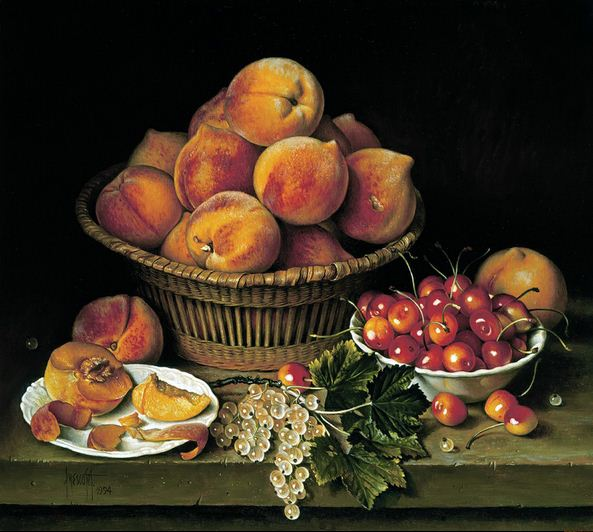 Художник Jose Escofet. Персики, вишня и белая смородина. 41х46 холст масло