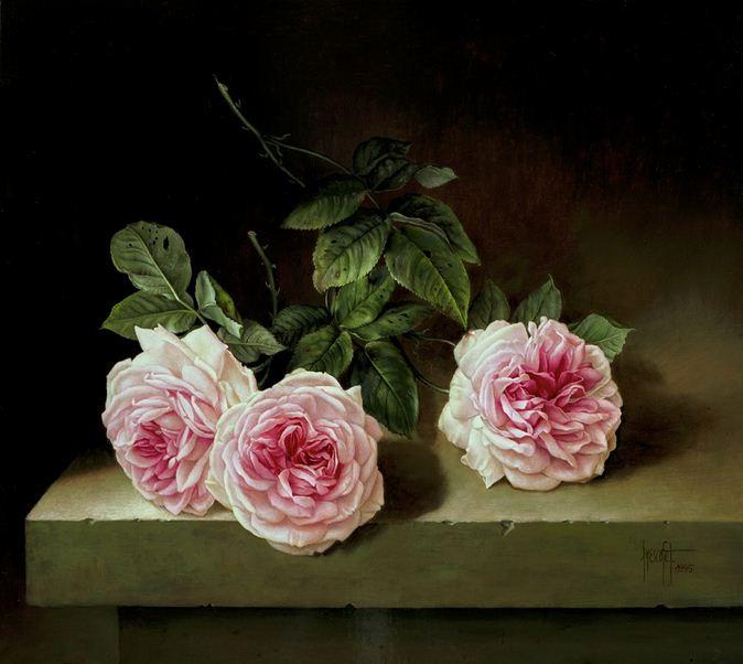Художник Jose Escofet. Три розы. 41х46 холст масло