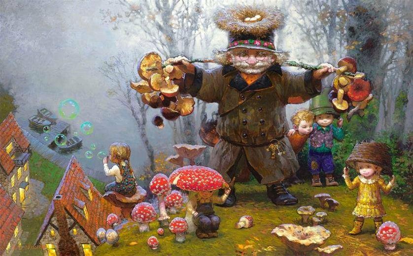 Художник Виктор Низовцев. Детские иллюстрации. Грибная сказка