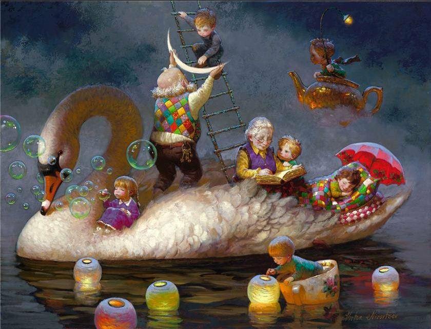 Художник Виктор Низовцев. Детские иллюстрации. Лебедь-сказка