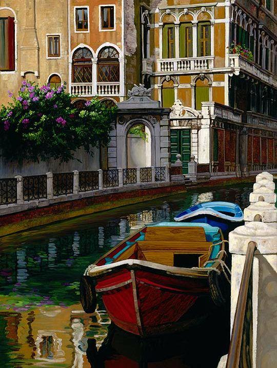 Художница JB Berkow. Венецианские лодки. 12х9 дюймов холст масло