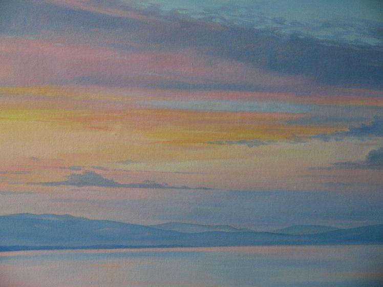 Художница Светненко Наталия. Рассвет на озере Шира. 35х50 холст масло