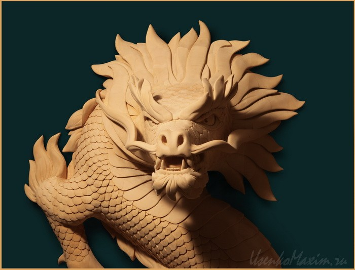 Изготовление деревянной скульптуры. Деревянный дракон