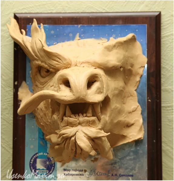 Изготовление деревянной скульптуры. Макет головы дракона