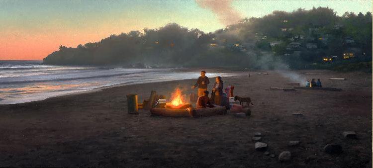 Amerikanskiy-hudozhnik-Scott-Prior.-Kartina-Bonfire-on-Muir-Beach
