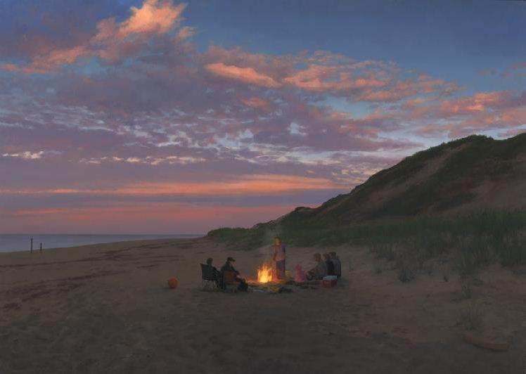 merikanskiy-hudozhnik-Scott-Prior.-Kartina-Bonfire-on-the-Beach