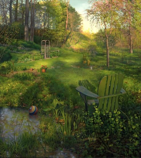 Amerikanskiy-hudozhnik-Scott-Prior.-Natyurmort-Backyard-in-Spring