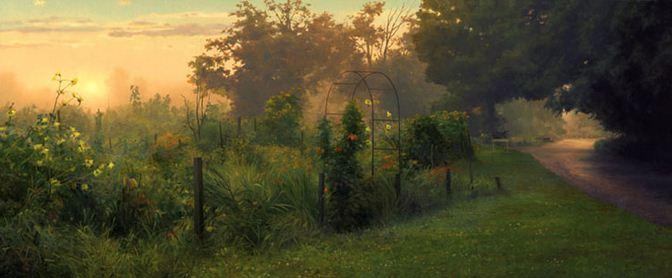 Amerikanskiy-hudozhnik-Scott-Prior.-Natyurmort-Community-Garden-After-Rain