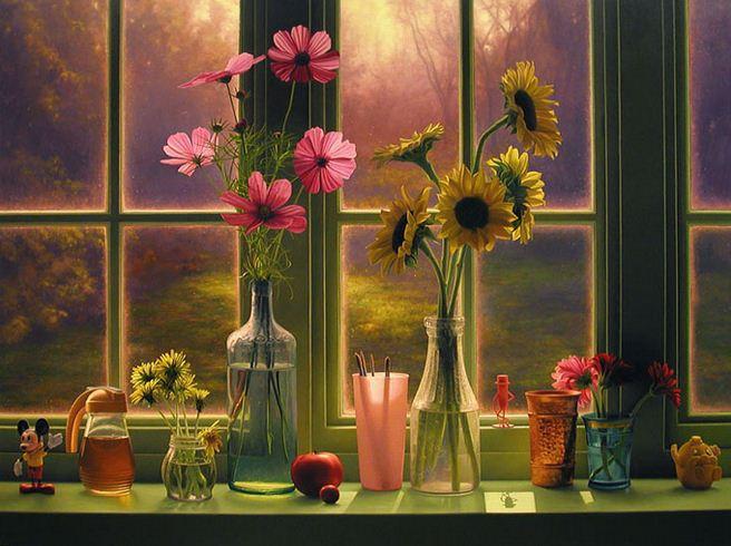 Amerikanskiy-hudozhnik-Scott-Prior.-Natyurmort-Flowers-in-Morning-Window