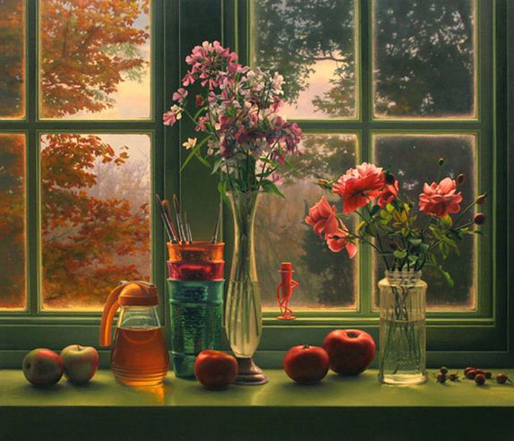 Amerikanskiy-hudozhnik-Scott-Prior.-Natyurmort-Window-Still-Life-in-Autumn