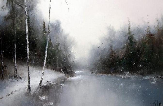 Художник Игорь Медведев. Лесное озеро. 40х60 х.м.