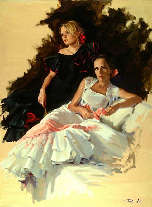 Художник Ricardo Sanz. Картина женщин маслом двенадцатая