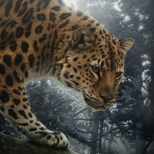 Художница Cristina Penescu.  Акрил Amur Leopard. 12x12 дюймов