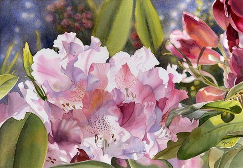 Hudozhnitsa-Marney-Ward.-Akvarel-Pink-Rhodos.-14x21-dyuymov