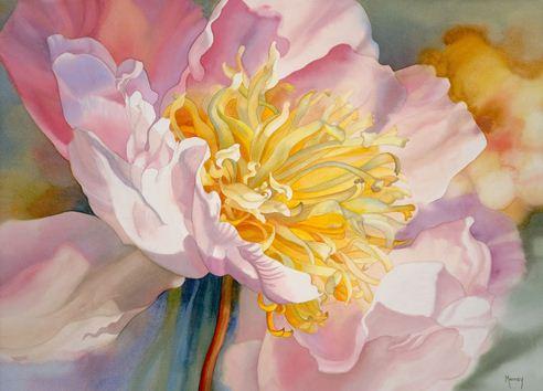 Hudozhnitsa-Marney-Ward.-Akvarel-Single-Pink-Peony-III.-21x29-dyuymov