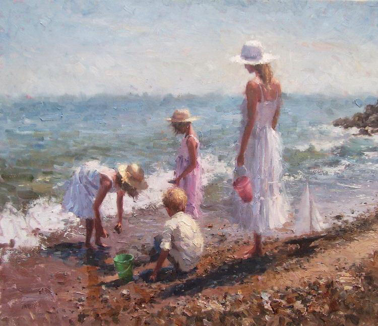 Impressionizm-E.J.Paprocki.-Kartina-Beach-Day.-25h30-dyuyma-holst-maslo