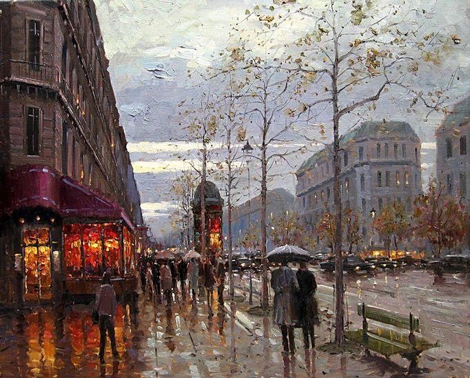 Impressionizm-E.J.Paprocki.-Kartina-Boulevard-St.-Germain-Paris.-24h30-dyuymov-holst-maslo