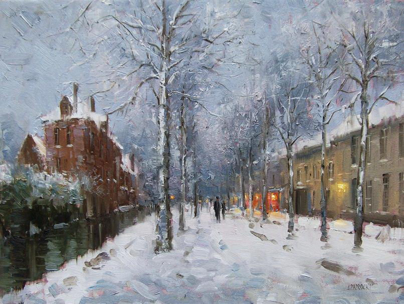 Impressionizm-E.J.Paprocki.-Kartina-Bruges-in-Snow.-13h18-dyuymov-holst-maslo