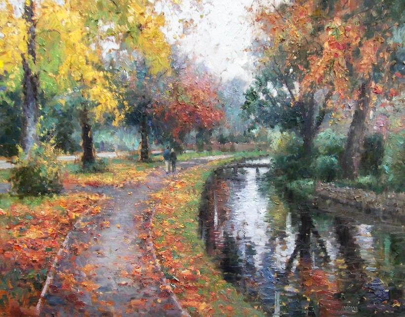 Impressionizm-E.J.Paprocki.-Kartina-Lower-Slaughter-in-Autumn.-30h40-dyuymov-holst-maslo