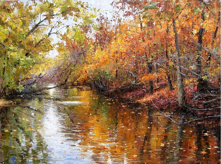 Impressionizm-E.J.Paprocki.-Kartina-River-in-Autumn.-36h48-dyuymov-holst-maslo
