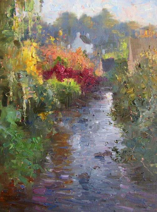Impressionizm-E.J.Paprocki.-Kartina-River-in-Pont-Aven.-16h12-dyuymov-holst-maslo